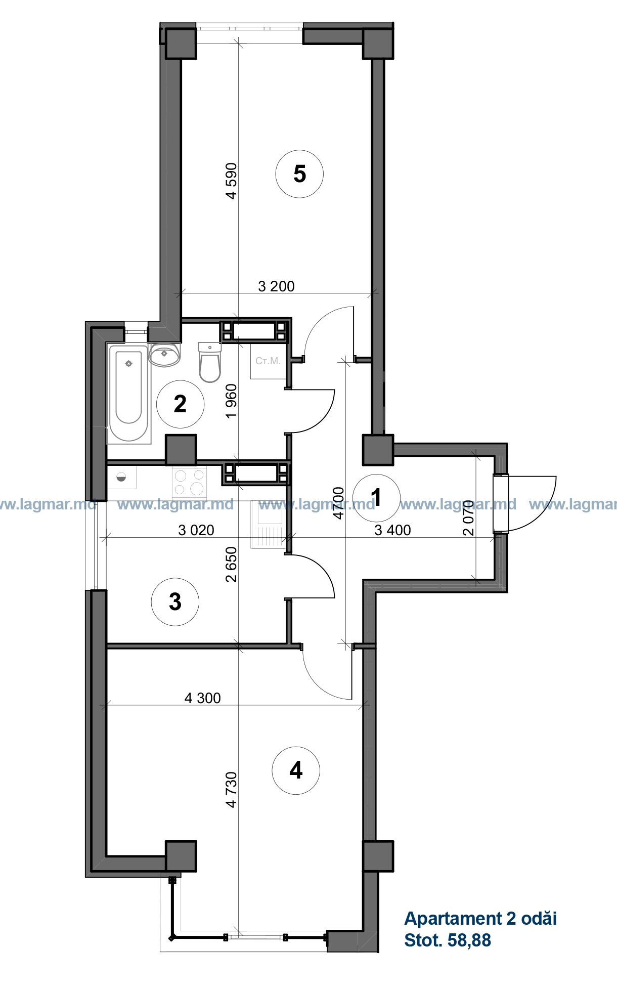 Apartament cu 2 camere, Chisinau, Deleanu