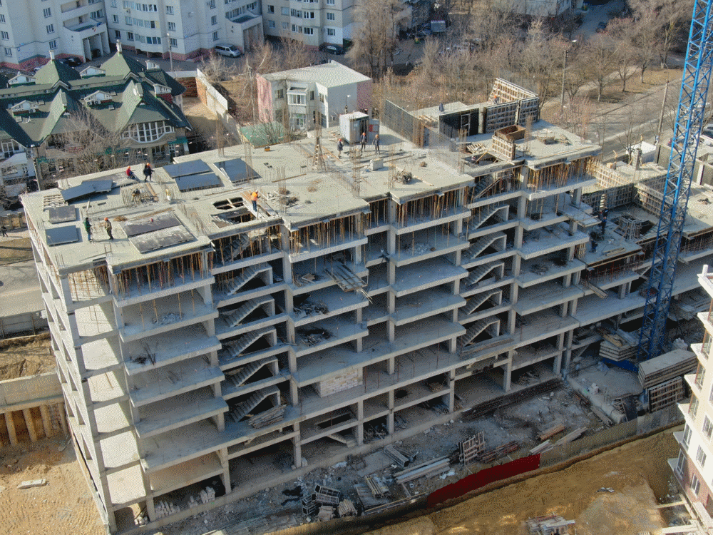 Suntem la o nouă etapă. Șantierul complexului locativ de pe str. Deleanu 3 la data de 7 martie 2019
