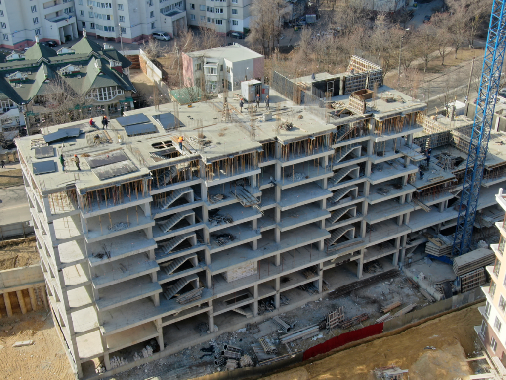 Șantierul complexului locativ de pe str. Deleanu 3 la data de 7 martie 2019